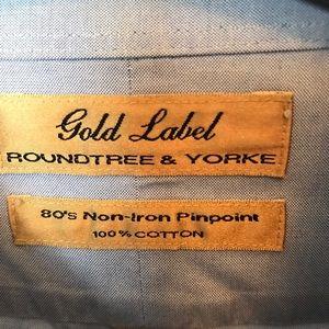 Roundtree & Yorke Shirts - Light blue men's tall dress shirt